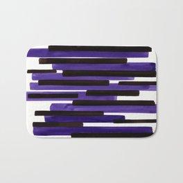 Purple Primitive Stripes Mid Century Modern Minimalist Watercolor Gouache Painting Colorful Stripes Bath Mat
