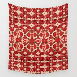 ikat geo mix patched in brigh red Wall Tapestry