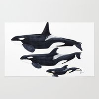 orca Area & Throw Rugs featuring Orca (Orcinus orca) by Chloe Yzoard