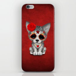 Red Day of the Dead Sugar Skull Wolf Cub iPhone Skin