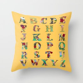 Floral Alphabet in Yellow Throw Pillow