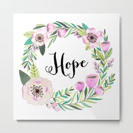 Hope Lettering Watercolor Ilustration Metal Print
