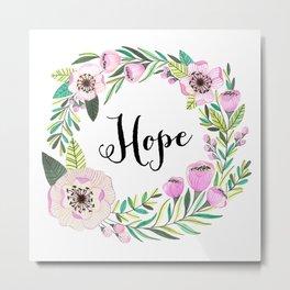 Hope Lettering Watercolor Ilustration Metal Print