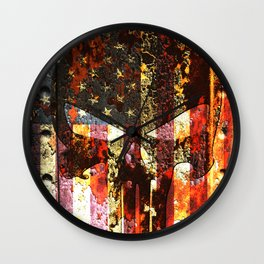 Skull on Rusted American Flag Wall Clock