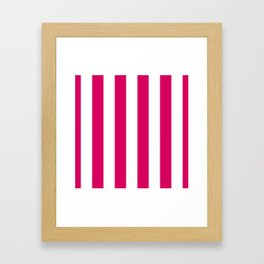 Bright Pink Peacock and White Wide Vertical Cabana Tent Stripe Framed Art Print