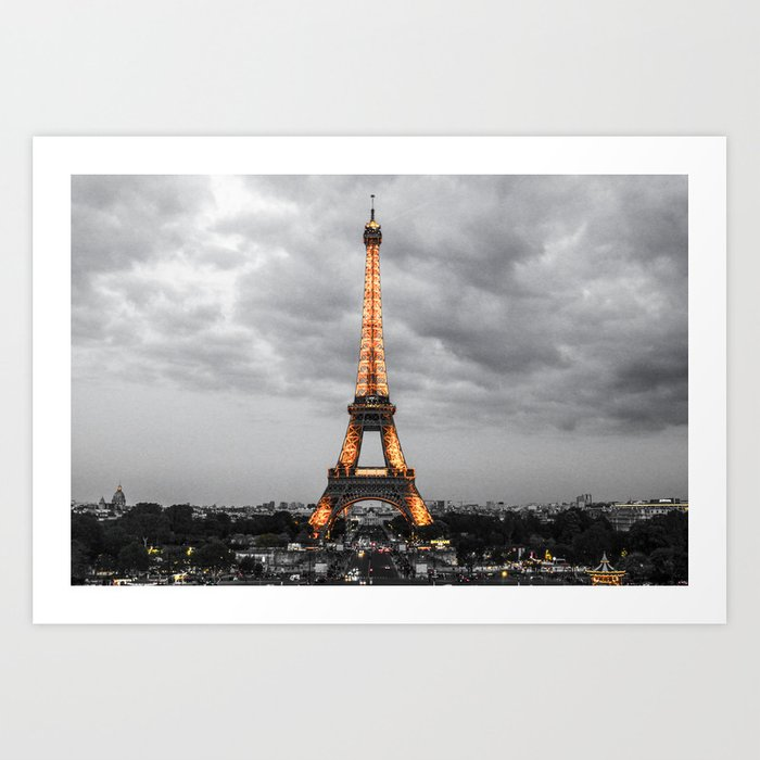 ArtWork Paris Tower Eiffel Black Gold Art Photo Art Print