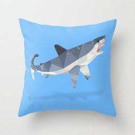 Low Poly Great White Shark Throw Pillow