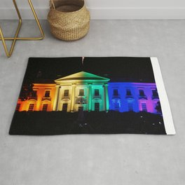The White House in Rainbow Colors Rug