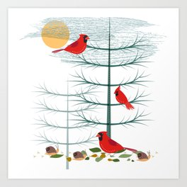 Cardinals in Trees Art Print