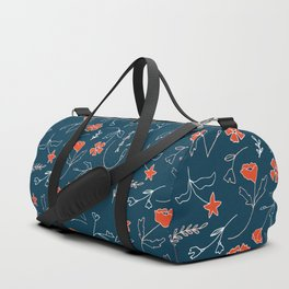 Orange pink pastel navy blue modern floral Duffle Bag