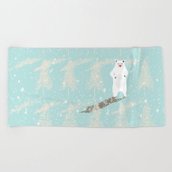 Polar bear in snowy white winter forest -Illustration Beach Towel