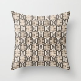 Ethnic african tribal pattern with Adinkra simbols. Throw Pillow