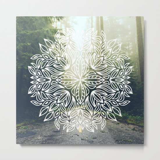 Mandala Forest Fog Road Metal Print