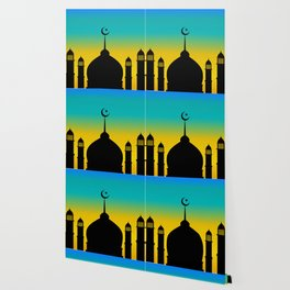 Mosque dome and minaret silhouette with moon during sunset - eid gifts Wallpaper