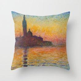 Claude Monet San Giorgio Maggiore at Dusk (Venice) Throw Pillow