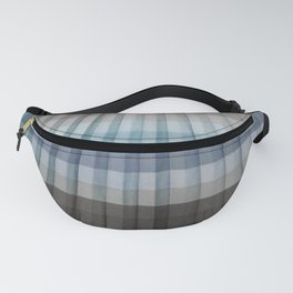 Blue Gray Pleated Stripes Fanny Pack
