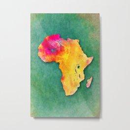 Africa map yellow green Metal Print