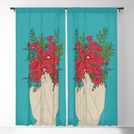 Blooming Red Blackout Curtain