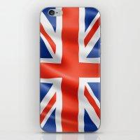 british flag iPhone & iPod Skins featuring UK / British waving flag by GoodGoods