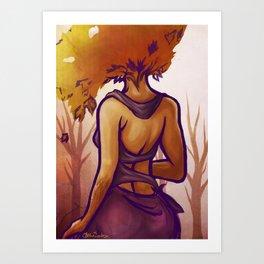 lady autumn Art Print