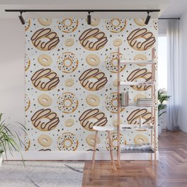 White Chocolate Donut Pattern Wall Mural
