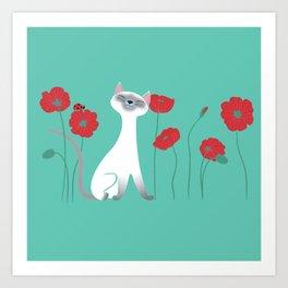 Siamese & Poppies Art Print