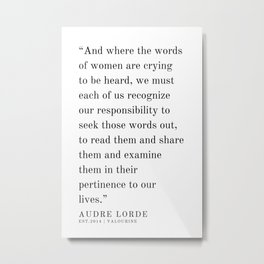 23  | Audre Lorde |Audre Lorde Quotes | 200621 | Black Excellence Metal Print