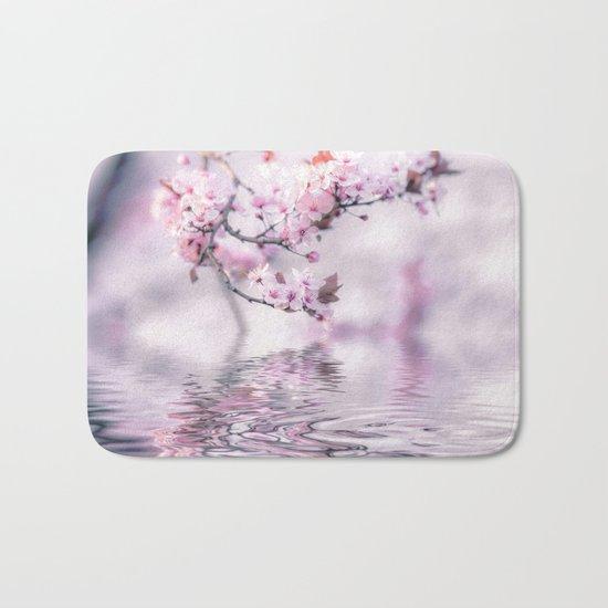 Zen Style Cherry Blossom and Water Bath Mat