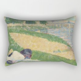 Georges Pierre Seurat  The Seine with Clothing on the Bank Rectangular Pillow