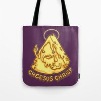 christ Tote Bags featuring Cheesus Christ by Lili Batista