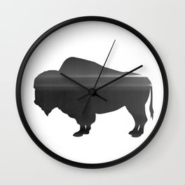 Buffalo print, Black & White Wall Clock