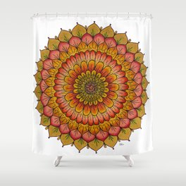 Sunset Golden Flower Mandala Colored Pencil Illustration by Imaginarium Creative Studios Shower Curtain