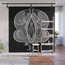 Black and Grey Tones Scroll Pattern Wall Mural