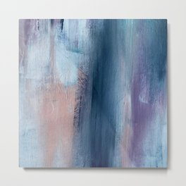In a Blur: an abstract mixed media piece in pinks, blues, and purple Metal Print