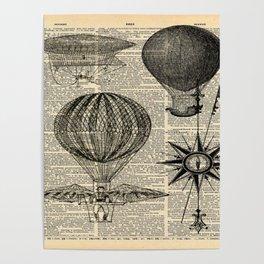 newspaper print victorian steampunk airship plane hot air balloon Poster