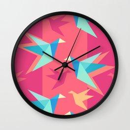 Vivid Pink Paper Cranes Wall Clock