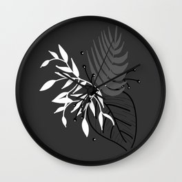 Grey leaves Wall Clock