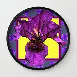 PURPLE IRIS  PATTERNS ART Wall Clock
