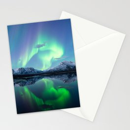 Northern lights and mountains Stationery Cards