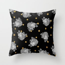 Roses and Gold Dots Throw Pillow