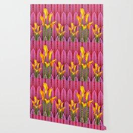 GOLDEN CALLA LILIES & RED ART DECO ART Wallpaper