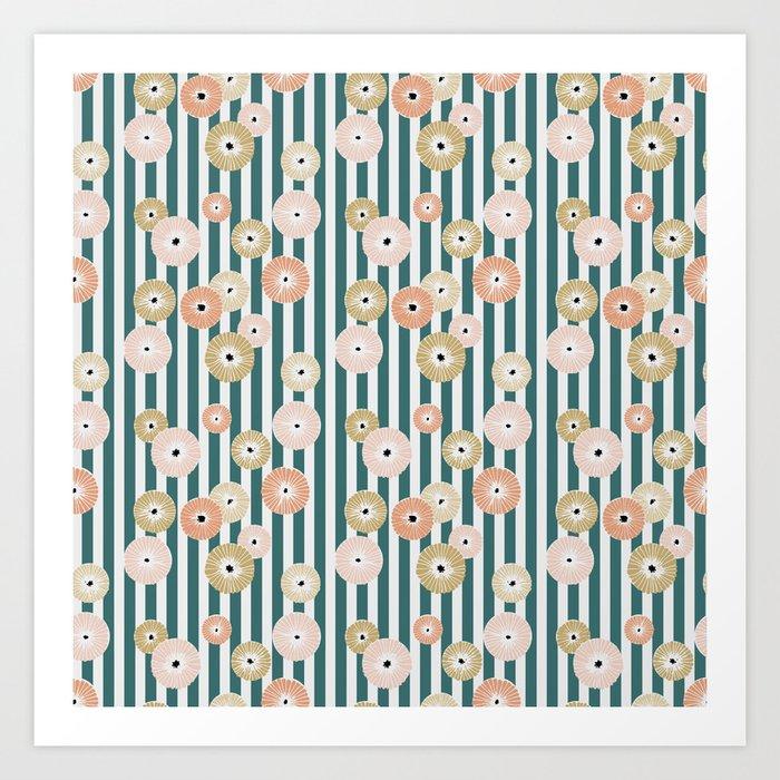Delicate flowers on stripes Art Print
