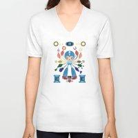 megaman V-neck T-shirts featuring MegaMan Shrine by MattBlanksArt