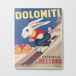 Dolomiti Ski Bunny Vintage Poster Metal Print