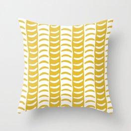 Wavy Stripes Mustard Yellow Throw Pillow