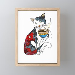 Cat Drinking Coffee With Fish Tattoo - Cat & Coffee Lovers gift idea Framed Mini Art Print
