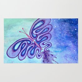 Temporality, watercolor butterfly in the sky art Rug