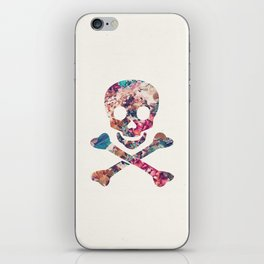 Pink Teal Vintage Floral Pattern Skull Cross Bones iPhone Skin