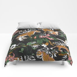 Leopards at night Comforters
