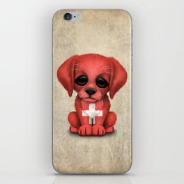 Cute Puppy Dog with flag of Switzerland iPhone Skin